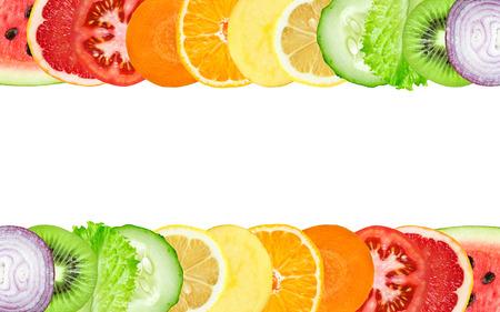 Foto für Color fruit and vegetable slices on white background. Food concept - Lizenzfreies Bild