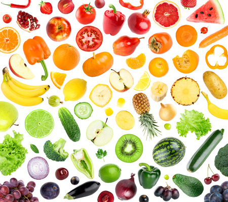 Collection of fruits and vegetables on white background. Fresh foodの写真素材