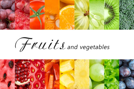 Fresh fruits and vegetables. Healthy food conceptの写真素材