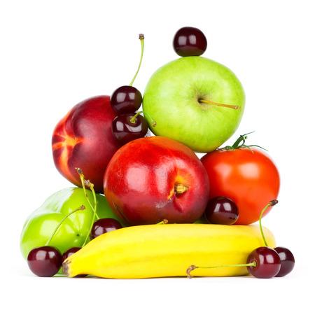Foto für Stack of fresh fruits and vegetables on white background - Lizenzfreies Bild
