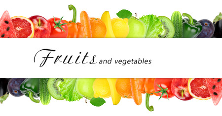 Photo for Fresh color fruits and vegetables. Healthy food concept - Royalty Free Image