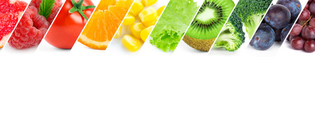 Foto de Fresh color fruits and vegetables. Healthy food - Imagen libre de derechos