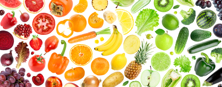 Foto de Fruits and vegetables. Fresh food background. Concept - Imagen libre de derechos