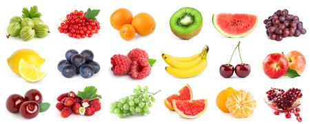 Foto für Collection of fruits and berries on white background. Fresh food - Lizenzfreies Bild