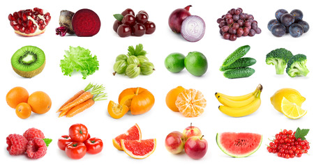 Foto de Collection of fruits and vegetables on white background. Fresh food - Imagen libre de derechos