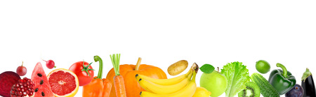 Foto de Color fruits and vegetables on white background. Fresh food. Concept - Imagen libre de derechos