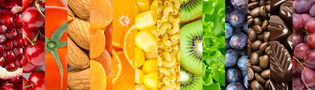 Food background. Collection of delicious food. Fruit and vegetables