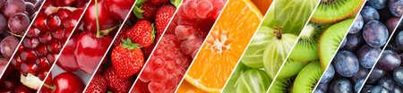 Foto de Fruits. Background of fresh food. Color ripe fruits - Imagen libre de derechos