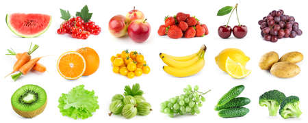 Foto für Collection of color fruits and vegetables on white background. Fresh food - Lizenzfreies Bild