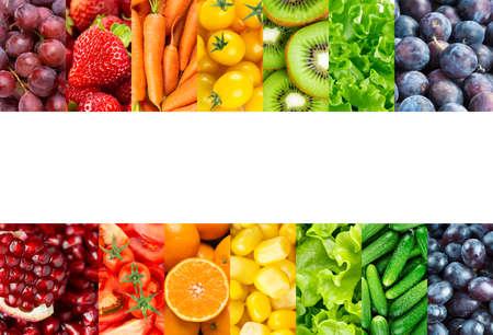 Photo pour Collage of fruits, vegetables and berries. Fresh food. Healthy food - image libre de droit