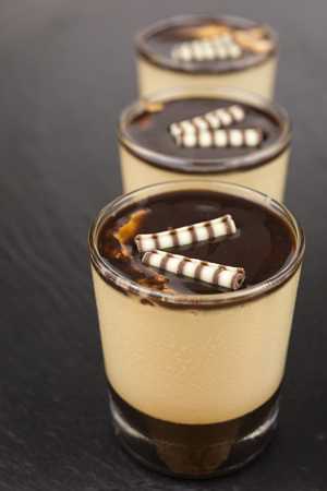 Dessert of panna cotta on a layer of espresso and topped with chocolate sauce.