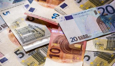 Foto de Pile of paper euro banknotes. - Imagen libre de derechos
