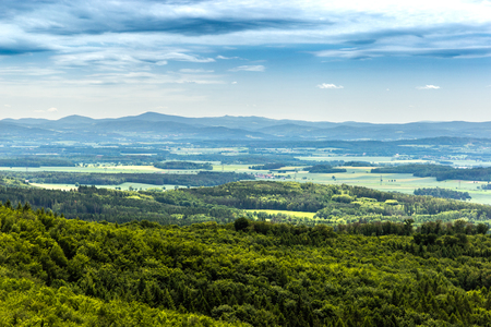 Photo for Panoramatic view of the South Bohemia and surrounding landscape, Czech Republic. - Royalty Free Image
