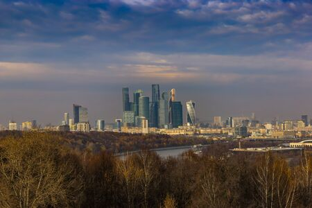 Modern Cityscape. Moscow-city, Russia. Moscow International Business Center.