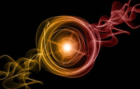 Foto de Colorful smoke with lights and rings on black background. - Imagen libre de derechos