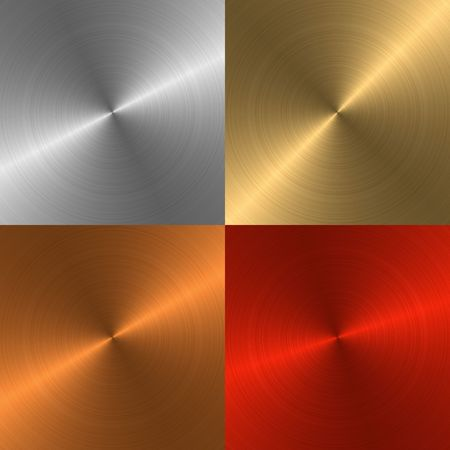 Four metal structures of different colours for a background