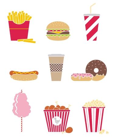 set of nine icons fast food