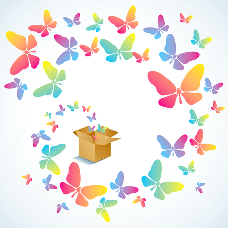 Open cardboard box with colorful butterflies flying