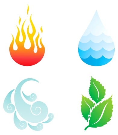 Ilustración de Illustrations of four natural elements of fire, water, wind and plants - Imagen libre de derechos