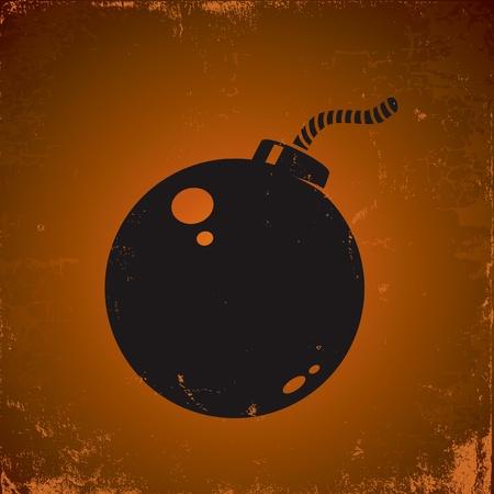 Illustration of grunge style bomb on the dark background