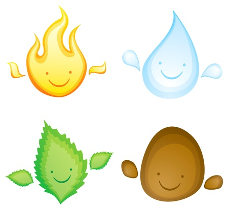 Ilustración de Four elements in the form of smiling characters - Imagen libre de derechos