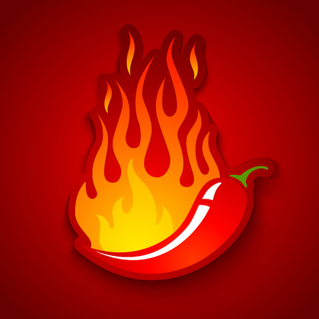 Vector illustration of a chili pepper in fire