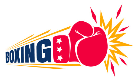 Vector vintage logo for a boxing with glove. Vintage logo for boxing.
