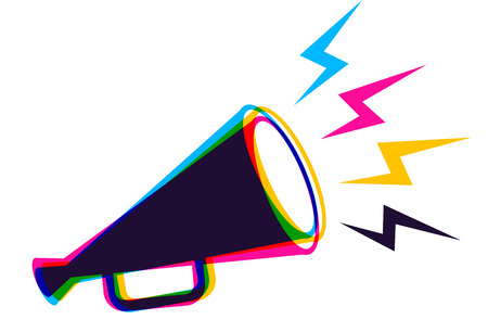 Illustration pour Vector vintage poster with retro megaphone in CMYK colors. Vector megaphone in CMYK style. - image libre de droit