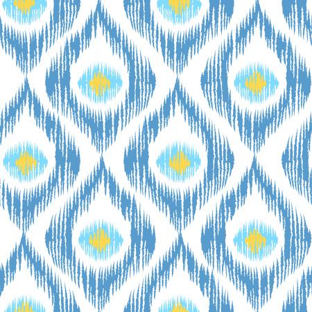 Ilustración de Vintage vector seamless pattern in ikat style. Retro ikat blue pattern. - Imagen libre de derechos