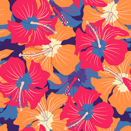 Illustration pour Vector vintage seamless pattern with colorful hibiscuses. Retro floral pattern with hibiscus - image libre de droit