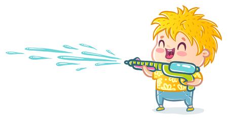 Vector illustration of a boy with water gun for Songkran festival in Thailand. Songkran water festival in Thailand.