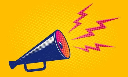 Illustration pour Vector vintage poster with retro megaphone on yellow background. Retro megaphone on yellow halftone background. - image libre de droit