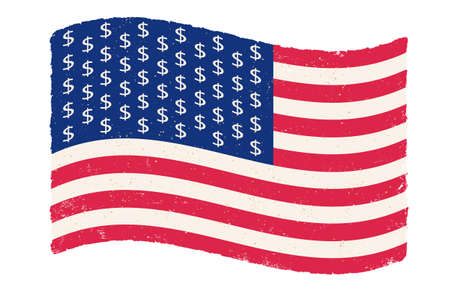 Illustration pour Vector vintage American flag with dollar signs instead stars. USA flag on isolated background with dollar signs. Flag of USA in retro style. - image libre de droit