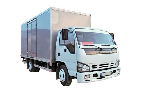 Foto de Blank white truck isolated on a white background - Imagen libre de derechos