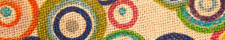 Photo for Colorful textile woven linen fabric, high quality jute fabric macro shoot - Royalty Free Image