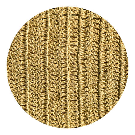 Photo for Beige textile woven linen fabric round, high quality jute fabric macro shoot - Royalty Free Image