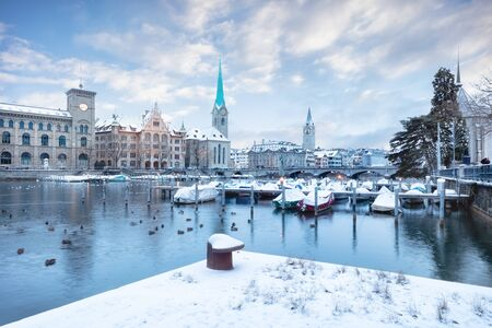 Photo for Old Zurich town in winter, view on lake - Royalty Free Image