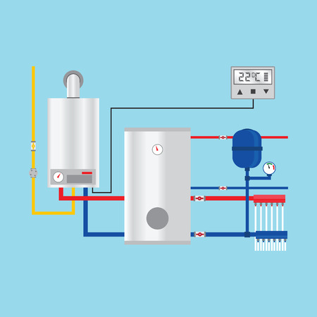Energy efficient heating system with thermostat.