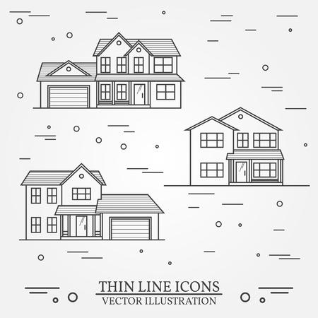 Ilustración de Set of vector thin line icon  suburban american houses. For web design and application interface, also useful for infographics. Vector dark grey. Vector illustration. - Imagen libre de derechos