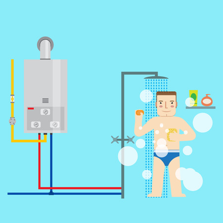 Gas water heater and man in the bathroom taking a shower. Flat icon for  web design and application interface, also useful for infographics. Vector illustration.