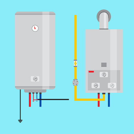 Set of gas water heater and electric water heater. Flat icon for  web design and application interface, also useful for infographics. Vector illustration.