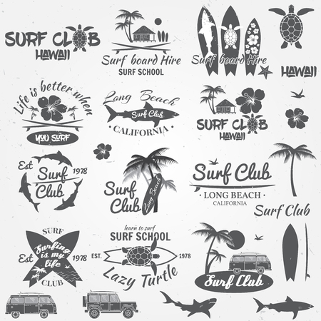 Illustration for Set of retro vintage badges and labels. For web design, mobile and application interface, also useful for infographics. Surf club and surf school design. Vector illustration. - Royalty Free Image
