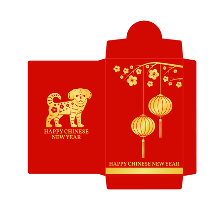 Chinese New Year red envelope flat icon.