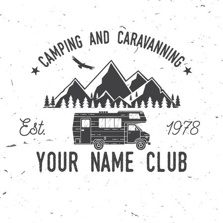 Ilustración de Camping and caravaning club. - Imagen libre de derechos