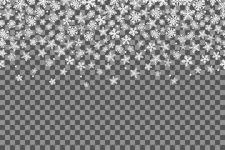 Ilustración de Seamless pattern with snowflakes for New Year celebration on transparent background. Vector Illustration. Christmas snow fall decoration effect. Happy New Year. - Imagen libre de derechos