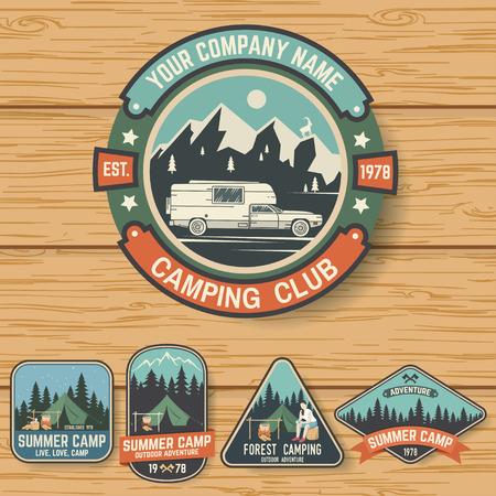 Illustration pour Set of Summer camp badges on the wood board - image libre de droit
