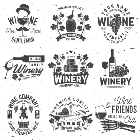 Illustration for Set of winer company badge, sign or label. Vector illustration. - Royalty Free Image