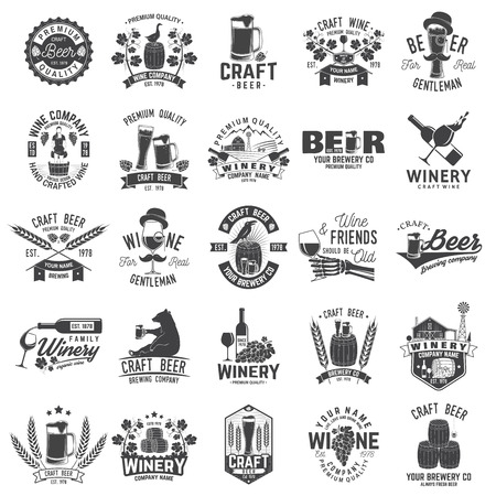 Ilustración de Set of Craft Beer and Winery company badge, sign or label. Vector illustration - Imagen libre de derechos