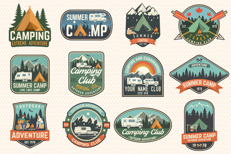 Ilustración de Set of Summer camp badges. Vector. Concept for shirt or logo, print, stamp, patch or tee. - Imagen libre de derechos
