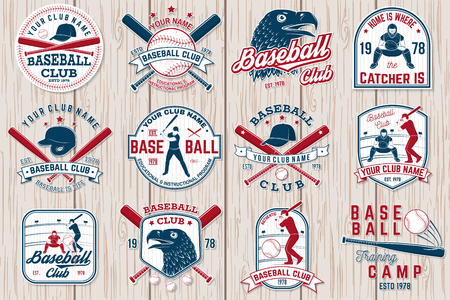 Set of baseball or softball club badge. Vector illustration. Concept for shirt or logo,のイラスト素材